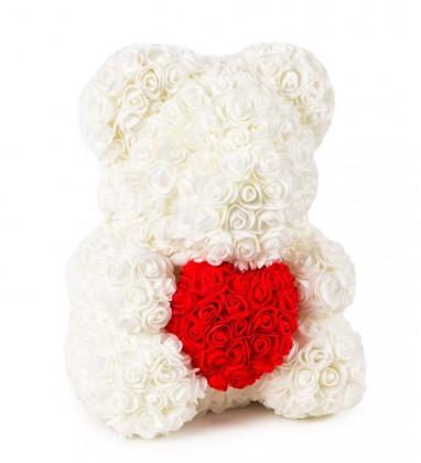 Beyaz Güllü Kırmızı Kalpli Solmayan Gül 40 cm Ayıcık