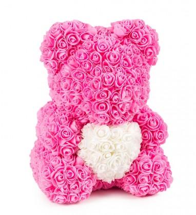 Pembe Güllü Beyaz Kalpli Solmayan Gül 40 cm Ayıcık Teddy Rose