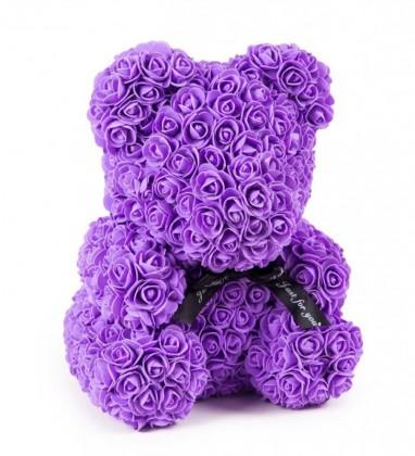 Lila Güllü Solmayan Gül 40 cm Ayıcık Teddy Rose