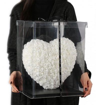 Beyaz Kalpli Solmayan Gül 40 cm Kalp Heart Rose