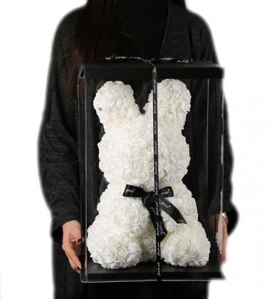 Rabbit Beyaz Solmayan Gül 40 cm Tavşan