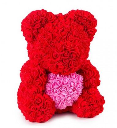 Kırmızı Güllü Pembe Kalpli 40 cm Ayıcık Teddy Rose