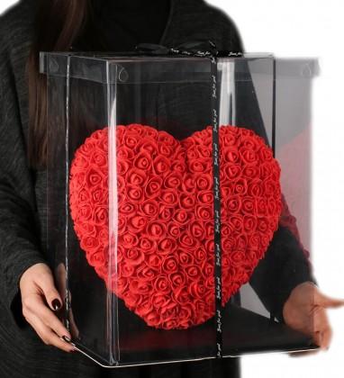 Kırmızı Kalpli Solmayan Gül 40 cm Kalp Heart Rose