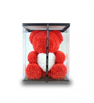 Kırmızı Önü Beyaz Kalpli Ayı Teddy Rose 70 cm