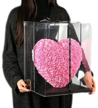Pembe Kalpli Solmayan Gül 40 cm Kalp Heart Rose